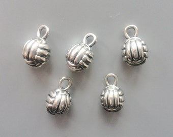 5/10/20 Pcs 3D volleyball charms - tibetan silver - 15mm x 9mm - tibet silver charm -antique silver ball pendant - small ball charm 314