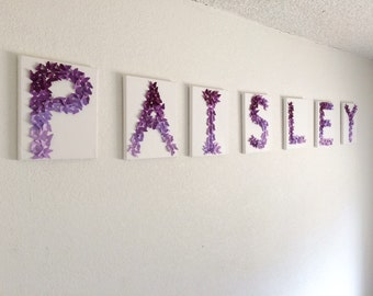 Purple Lavender Ombre Butterfly Letter Wall Decor Baby Girls Boys Nursery Room Initials Names Party Wedding Personalized Cute Wall Hanging