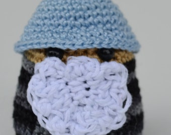 Crocheted Amigurumi Little Gnome or Wizard Blue and Black