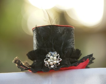Black and Red Cosplay Steampunk Mini Top Hat