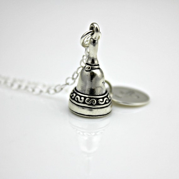 HAND BELL INITIAL Sterling Silver Necklace - handbell choir