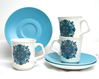 1960s j&g meakin set of three cups and saucers in blue and white were 12.99 now 9.99