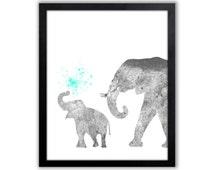 Baby Elephant, Elephant Wall Decor, Turquoise Nursery Art - EL028