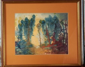 Watercolor Impressionist Landscape Painting  Mid Century Modern 1950's - It doesn't get much better than this!