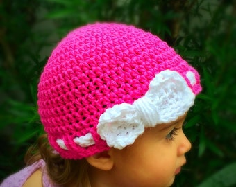 Crochet baby hat, Pink and white hat, Beanie hat, Shower Gift, Hospital Hat, Pink hat, Crochet hat, Hat with bow, Gift for girls