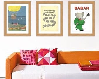 Lovely Babar the elephant Collection of 3 A3 Satin reproduction Print posters