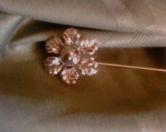 Silver flower hat pin