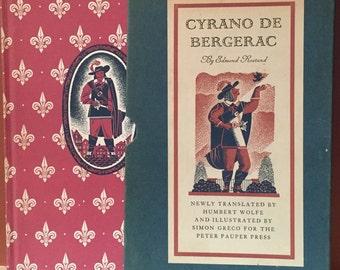 Cyrano De Bergerac , Illustrated Edition Book and Slipcase , 1941, Illustrated Simon Greco,  Paper Anniversary  Birthday Gift  Library Decor