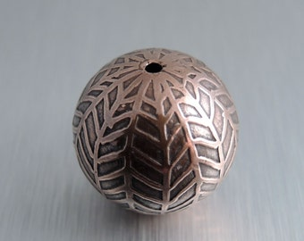 Large Etched Copper Bead - Herringbone Design - 22mm Round Bead