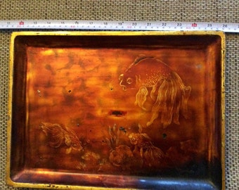 Goldfish!  Lacquerware tray painted with gold, China or Japan.