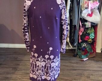 Purple floral long sleeve dress