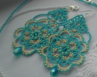 Blue earrings,  tatted earrings, lace earrings, tatting jewelry, summer earrings, lace jewery, tatted lace