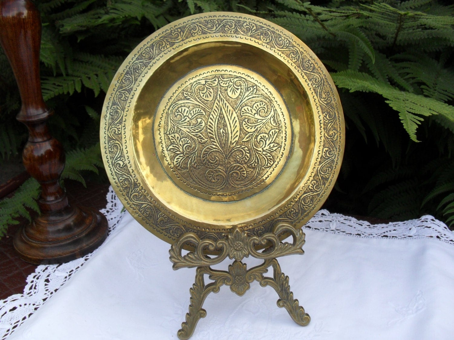 Brass Wall Plates Decor : Vintage brass wall plate decor engraved by