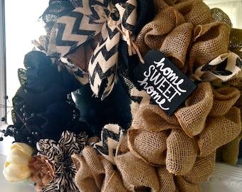 "20"" Black Neutral Burlap Wreath"
