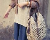 Beige cotton crochet bag- crochet single-shoulder bag-travel bag-Boho bag
