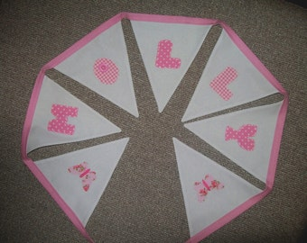 Beautiful Personalised hand made Bunting - Christening, New Baby, Birthday, Decoration - made to order