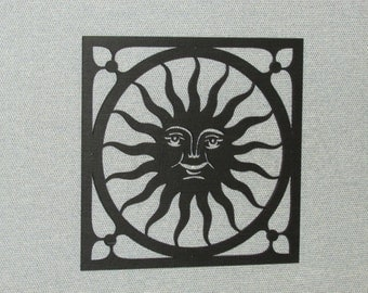 Large Happy Sun Face Wall Decor Laser Cut Wood Art