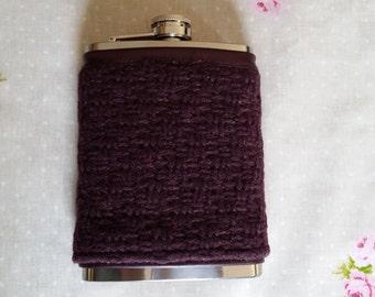 Irish Tweed Hip Flask - 8 Oz - Stainless Steel - 100% Wool - Liquor Flask - Groomsman