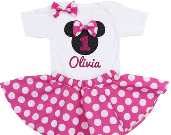 Minnie Mouse Birthday Outfit, Girls Birthday Outfit with Minnie Mouse personalized with child's name, 1st birthday minnie mouse