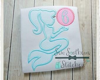 Mermaid Silhouette Applique Design ~ Circle for Monogram ~ Applique Design