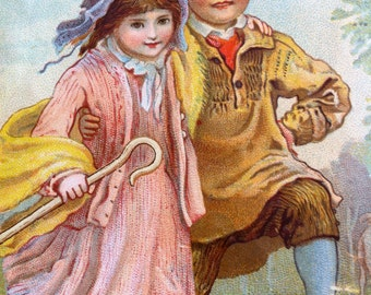 Antique Merry Christmas Card - Shepherd Children