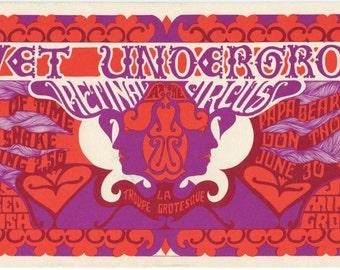 Retinal Circus Vancouver Canada 1968 Jun 27 Velvet Underground oversize postcard