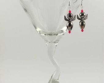 Red angel earrings, Swarovski crystals
