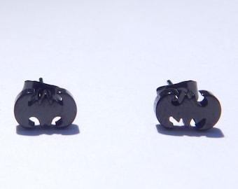 Batman Earrings, Batman Stud Earring, Steel Batman Earrings, Stud Earrings, Batman, Stainless Steel Batman Earrings, Black Batman Earrings