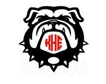 Bulldog Monogram Decal, Bulldog Decal, College, School Spirit, Highschool, Georgia University, Monogram Vinyl Decal