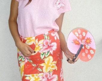 SALE! Fabulous Hawaiian Hibiscus Print Pencil Skirt