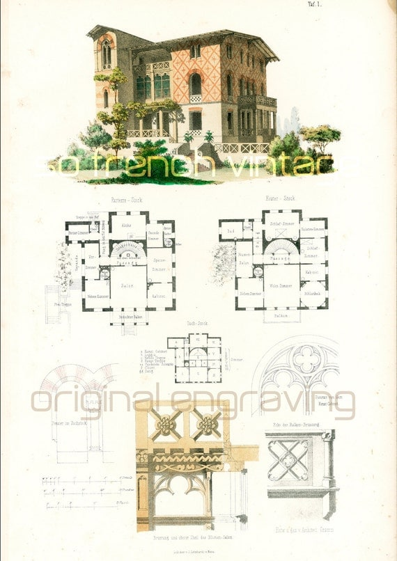 1854 italian country house plans architectural by Italian country home plans