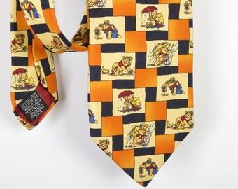Pure Silk Orange Necktie Vintage Pooh Tie Winnie the Pooh Necktie Made in Italy