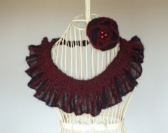 Black and Burgundy Knitted Collar with Corsage, Knitted Scarflette with Corsage