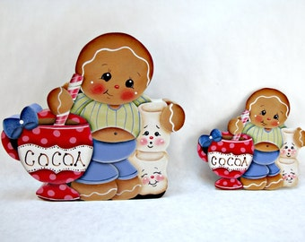Ginger's Cocoa, Item #DPH35, Gingerbread Fridge Magnet and/or Shelf Sitter, ByBrendasHand, Gingerbread Kitchen Decor, Hot Cocoa, Marshmallow
