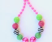Pink Watermelon Girls Necklace, chunky bead necklace, watermelon, pink, green, and black necklace, watermelon, girls necklace, photo prop