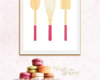 Fun Kitchen Printable, Hot Pink Kitchen Printable, Pink Baking Art, Dipped Pink Spatula, Pink Kitchen Whisk Print, Fuchsia Pink Kitchen Art