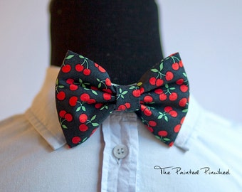 Red Cherries on Black Patterned Bow, Bow Tie, Pocket Square