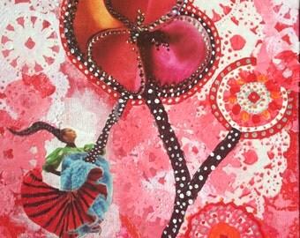"Mixed Media Collage Art ""Flowered Dancer"""
