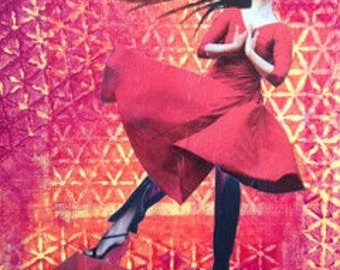 """Mixed Media Collage, """"Rooftop Dancer"""""""