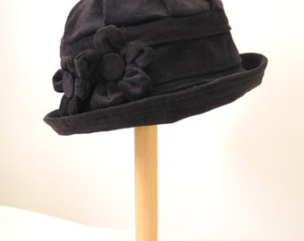 Black homegrown flower cloche hat