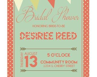 Custom Coral & Teal Bridal Shower/ Baby Sprinkle Invitation   Digital Printable