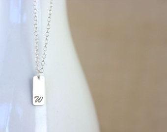 Vertical bar necklace - minimalist monogram, small bar, small personalized bar, custom initials, small vertical bar