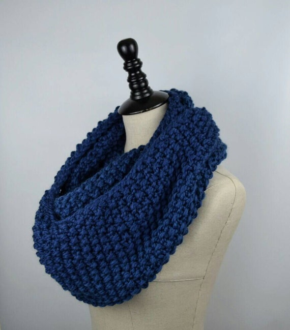 Knit Scarf Pattern Seed Stitch : Blue Knit Infinity Scarf Seed Stitch Scarf Chunky Knit by jfaze