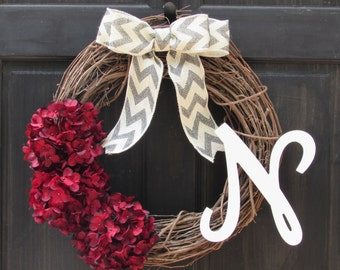 Red Wreath with Initial, Red Everyday Wreath, Valentine's Day Wreath, Monogram Wreath, Personalized Holiday Wreath, Valentines Decoration