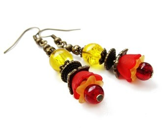 ROMANTIC STYLE Lucite flowers - red and yellow small dangle earrings, acrylic floral earrings with glass beads - gift for her, vintage style