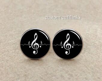 Treble Clef Music Cufflinks Musician  cufflinks in Black and White Treble Clef,Husband Cufflinks,Music Cufflinks,Wedding Cufflink, for him