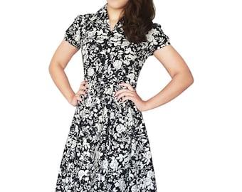 Plus Size Dress 50s Tea Party Dress Swing Dress Black Roses Vintage Style Dress Floral Dress Bridesmaid Dress Rockabilly Dress Pin Up Dress
