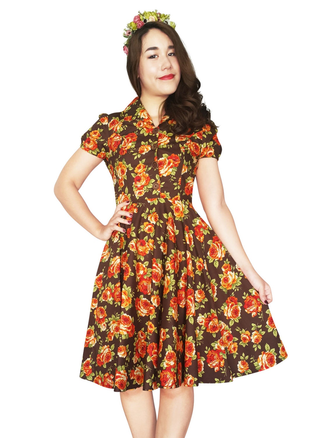Brown Vintage Floral Dress Plus Size Dress Summer Dress Orange