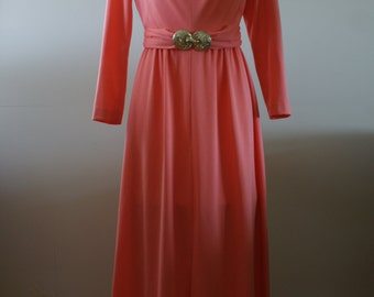 Vintage 70s A Dress Town Original Coral Long Sleeve Gown Belted with Gold Tone Buckle Union Label Made in Canada Size Medium - M-712