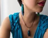 Jewel beetle earrings--long, multi-layer +amethyst